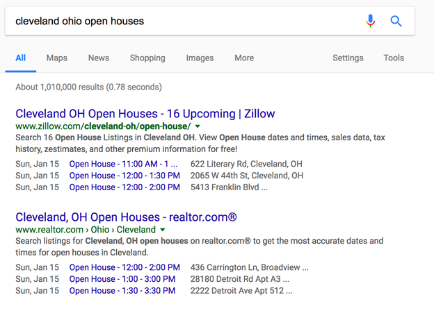 Google search results for Cleveland Ohio Open Houses
